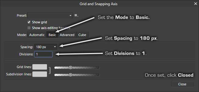 Affinity Photo: Grid and Snapping Axis Settings