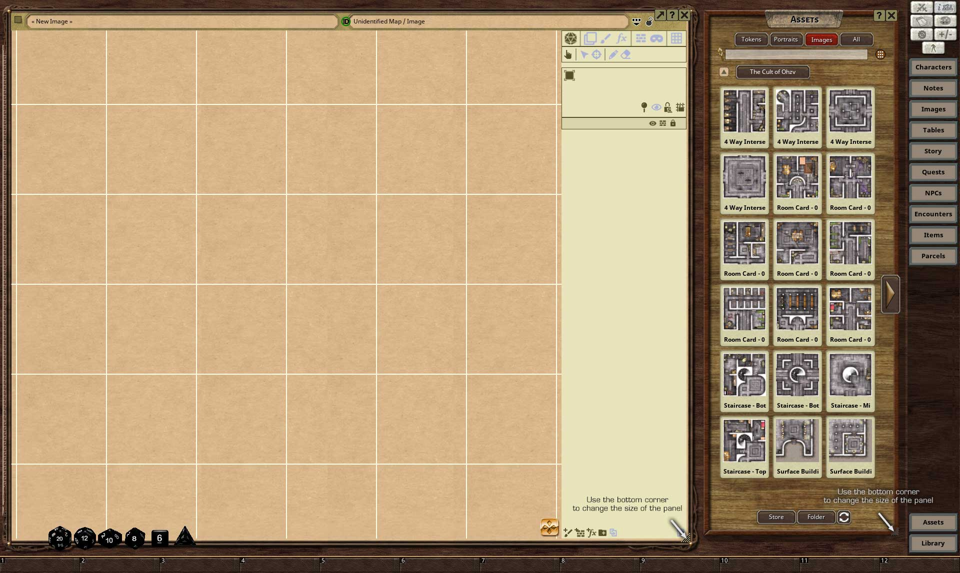 Change the size of each window to setup a workspace for map building.